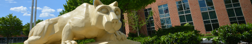Nittany Lion shrine in front of library