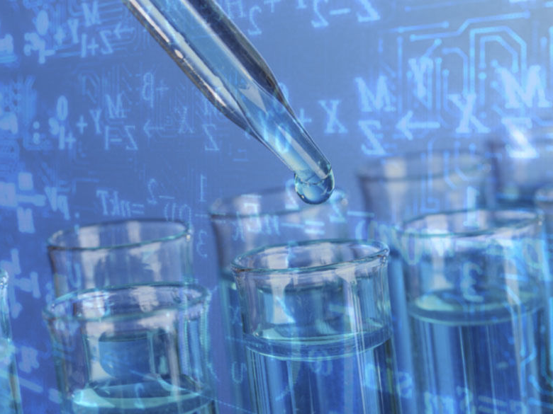pipette dropping liquid into test tubes with equations in the background