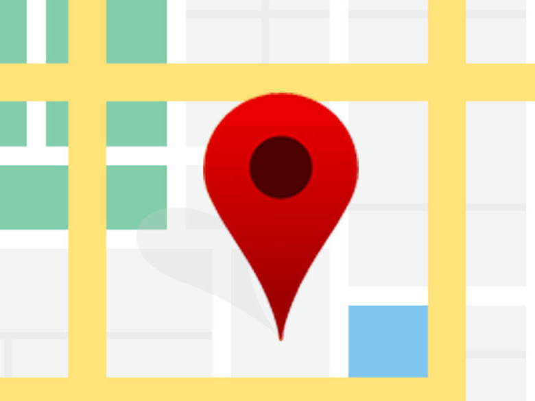 pin icon on a non-labelled street map
