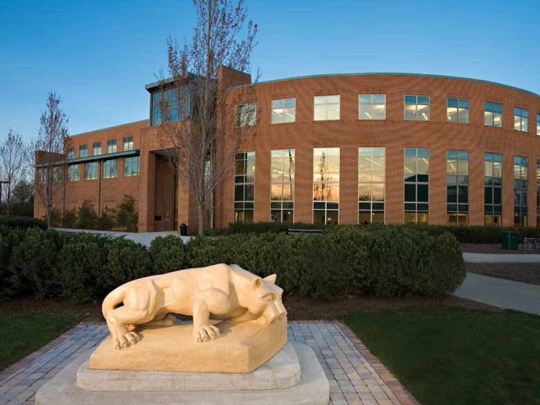 The Nittany Lion shrine outside the library